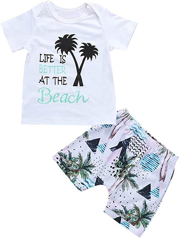Newborn Toddler Baby Girls Boys 2019 Summer Clothes Outfit Cuekondy Cute Letter Coconut Tree Print T Shirt Shorts Set