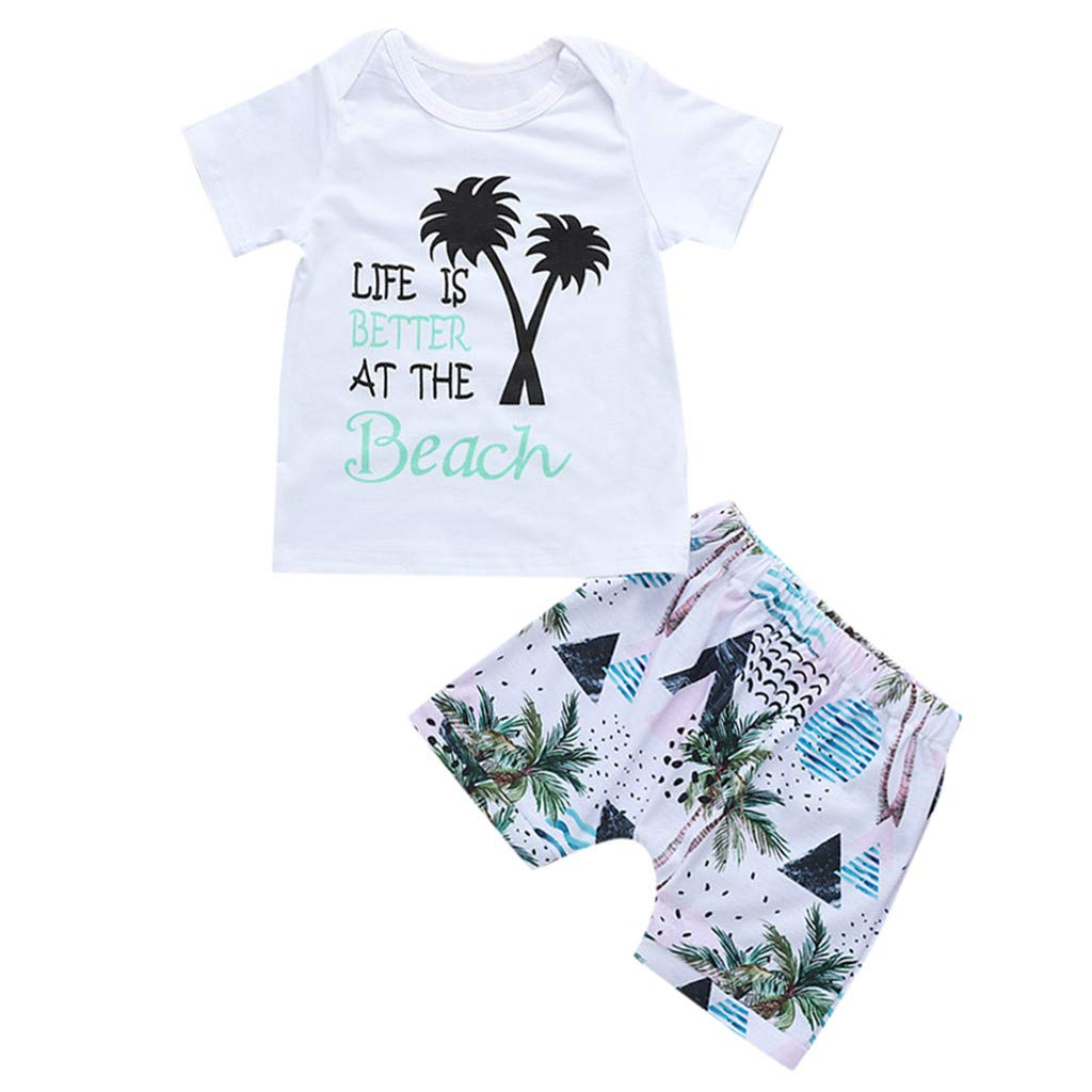 Lavany Baby Boys Girls Outfits 2pc Short Sleeve Beach Print Tops+Shorts Clothes Set White
