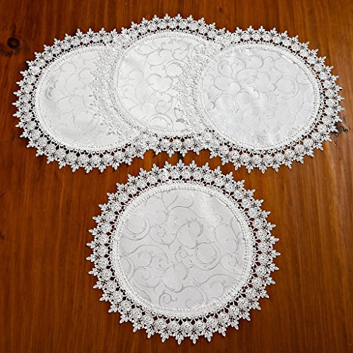 Violet Linen Flower Bow Embroidered Lace Vintage Design Placemat, Set of 4, 16