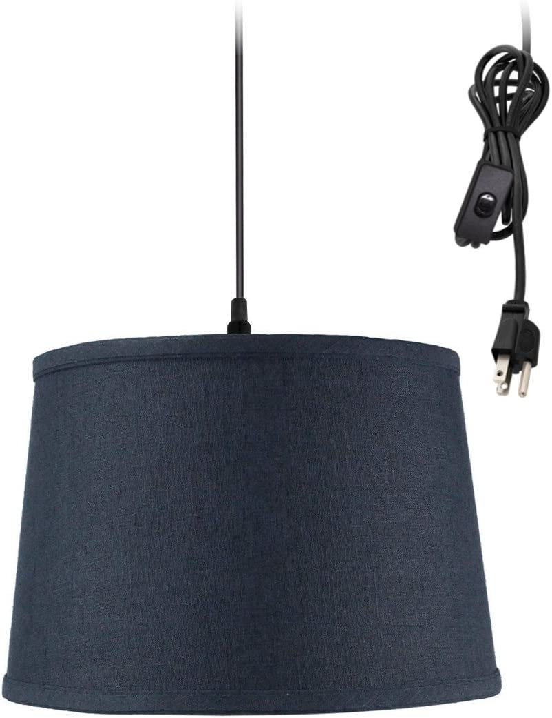 Plug-in Pendant Light by Home Concept – Hanging Swag Lamp Textured Blue Slate – Perfect for Apartments, dorms, no Wiring Needed Blue, Black One-Light