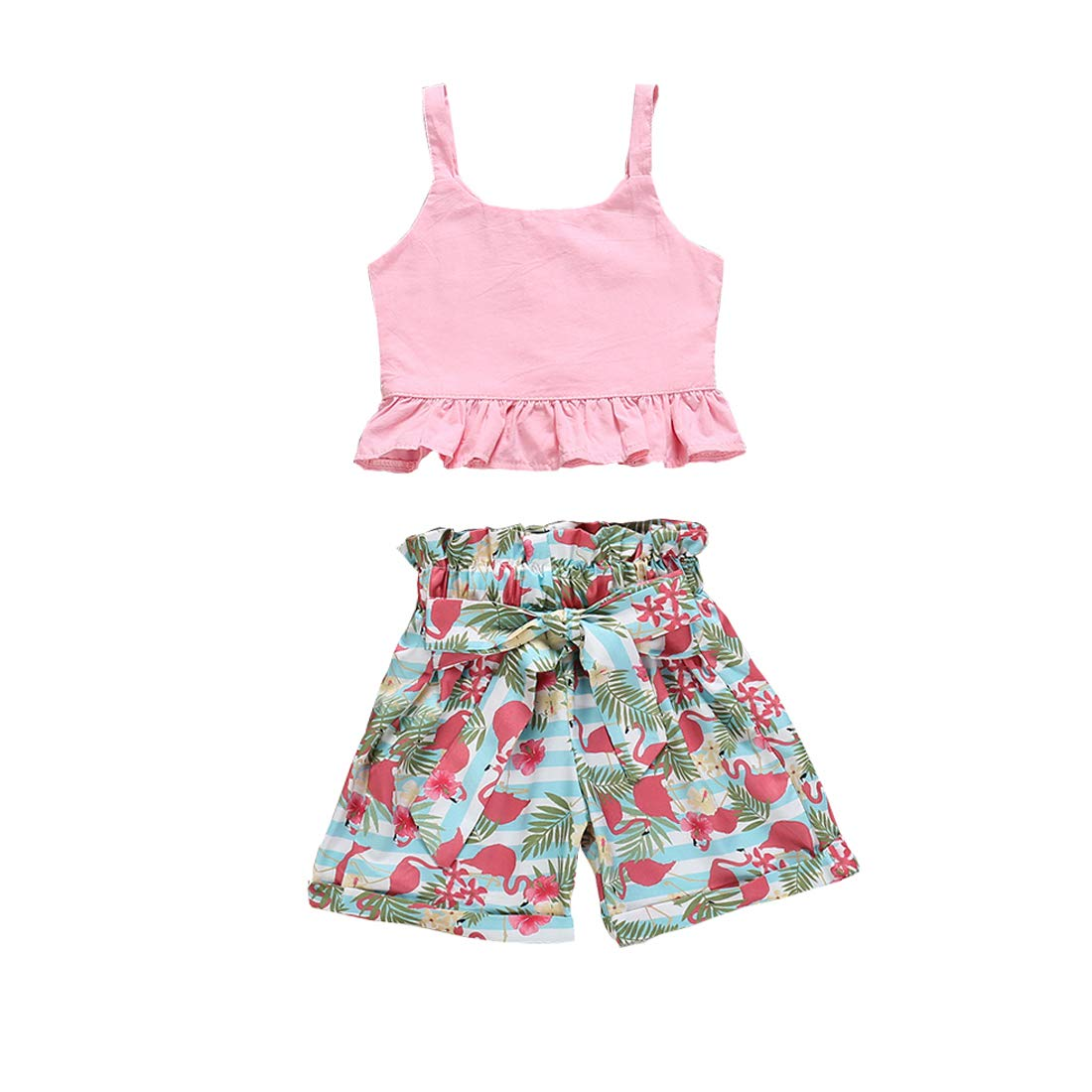 2 Pcs Toddler Baby Girl Summer Outfits,Ruffle Off Shoulder Crop Tops,Floral Wide Leg Pants with Bowknot Belt