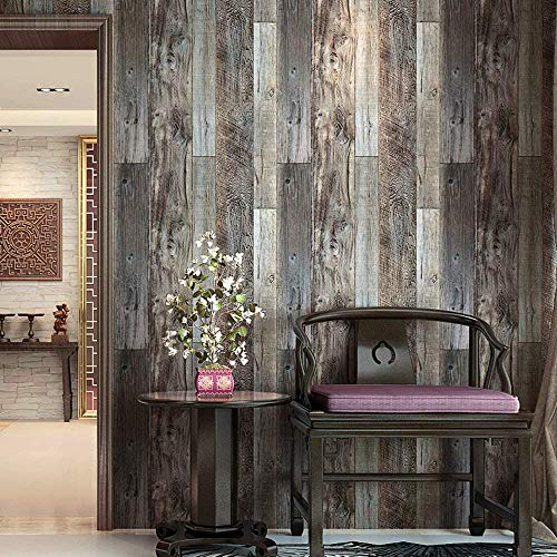 "Blooming Wall Barnwood Wood Panel Wood Plank Removable Wallpaper Wall Mural for Livingroom Kitchen Bathroom Bedroom,20.8"" x 374"", Multicolor"