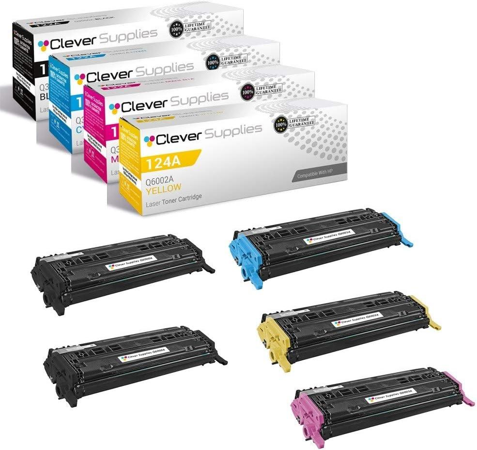 CS Compatible Toner Cartridge Replacement for HP 1600 Q6000A Black Q6001A Cyan Q6002A Yellow Q6003A Magenta HP 124A 1600 2600N 2600DN 2605 2605DN 2605DTN CM1015 CM1015MFP CM1017 5 Color Set