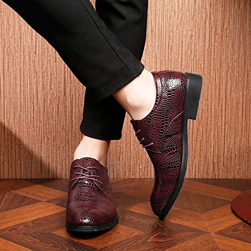 Texture coccodrillo superiore di Resistente pelle amp;Baby traspirante EU Top Low da Scarpe Color foderato uomo 42 Wine Business all'abrasione in Sunny PU Lace Wine Dimensione up Pelle oxford zfOvqwq8