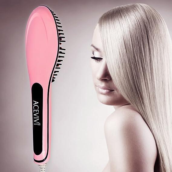 ACEVIVI - Cepillo de cerámica antiestático para alisar el pelo, color rosa, color rosa: Amazon.es: Belleza