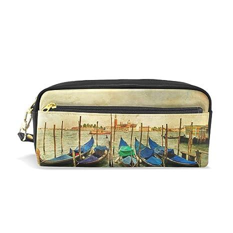 aa39bcf6fb Mydaily Venezia Gondole vintage pittura matita della penna borsa portamonete  cosmetici