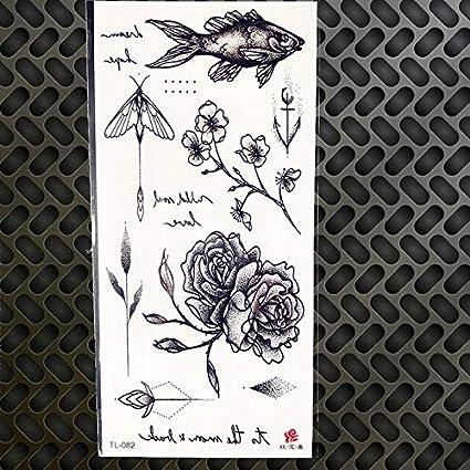 HXMAN 5 Unids Sexy Temporal Tatuaje Acuarela Dibujo Rosa Geomética ...