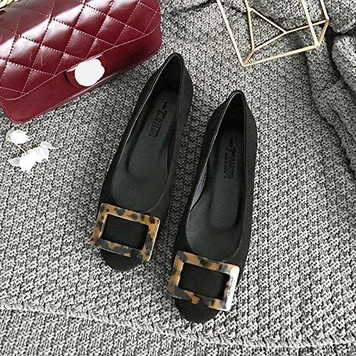 Black femme chaussures seule cuir plates tête Chaussures L'attache faible Angrousobiu des une ressort lumière et avec Simple ronde à gpnxq06U