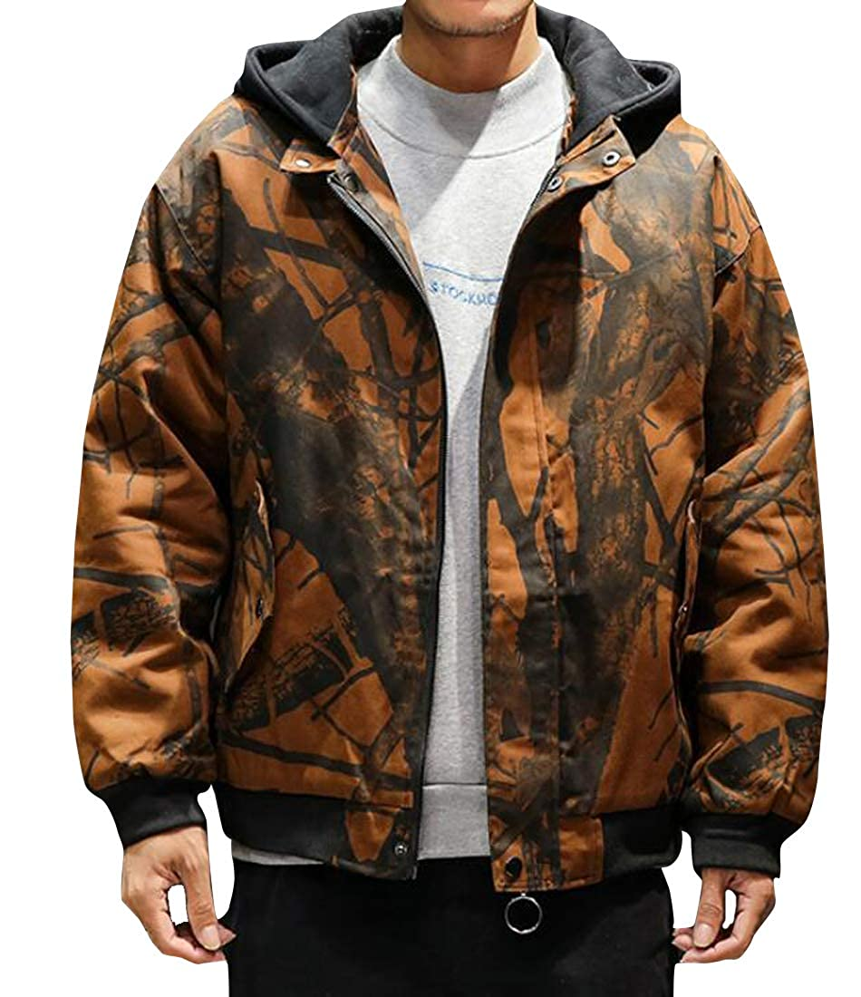 ARTFFEL Mens Plus Size Winter Thickened Loose Hooded Down Quilted Coat Jacket Overcoat