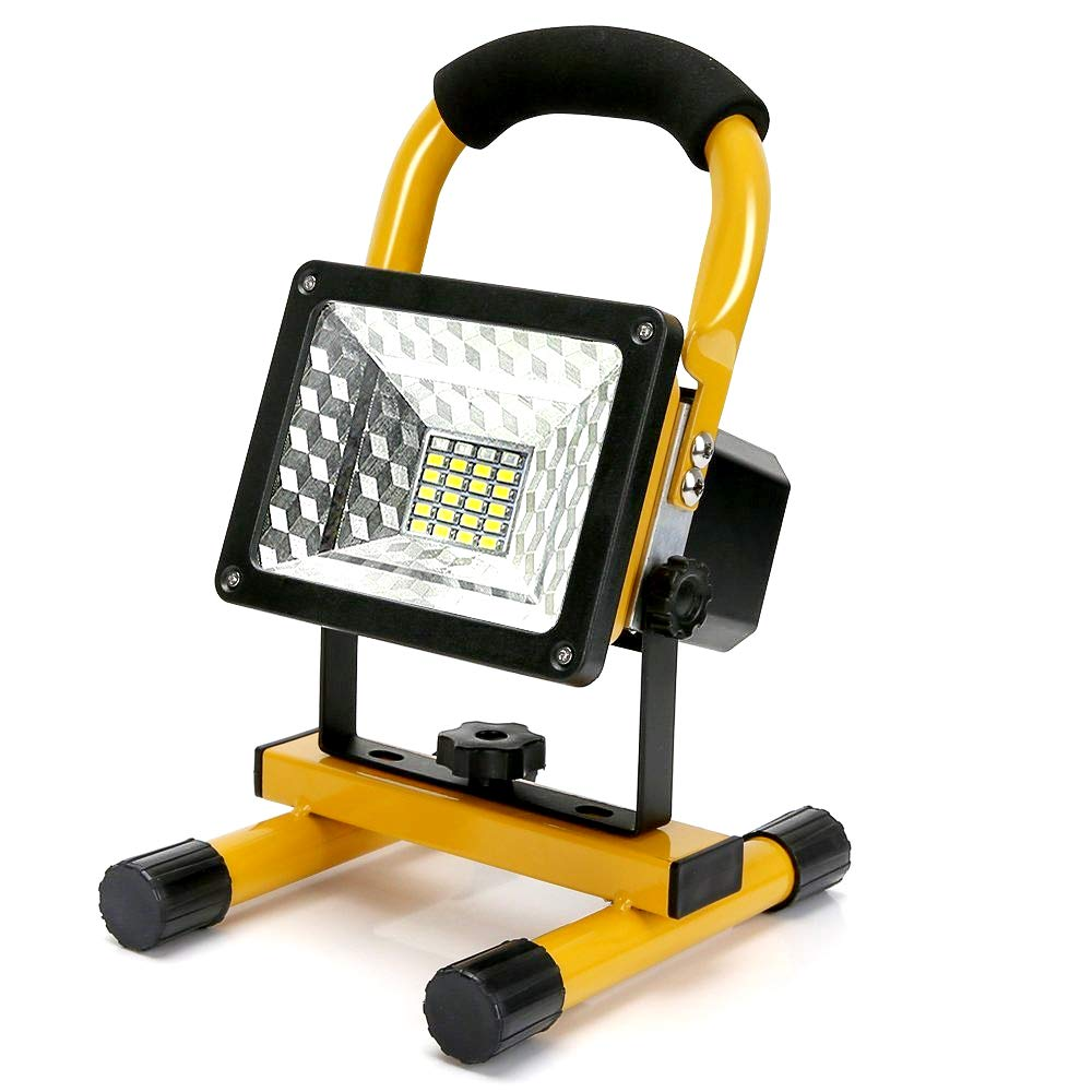 Work Light, Portable Outdoor Work Light with Built-in Rechargeable Lithium Batteries, Camping LED Spotlights with 2 USB Ports to Charge Digital Devices(15W 24LED)