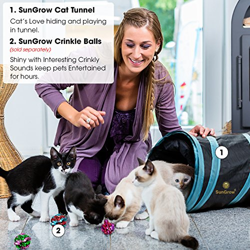 Collapsible Cat Tunnel --- Interactive Play Toy with Peep Hole and Crinkle Ball - For Hiding, Hunting and Resting - Confidence Booster & Health enhancer - Ideal for Multi-cat and Independent Play