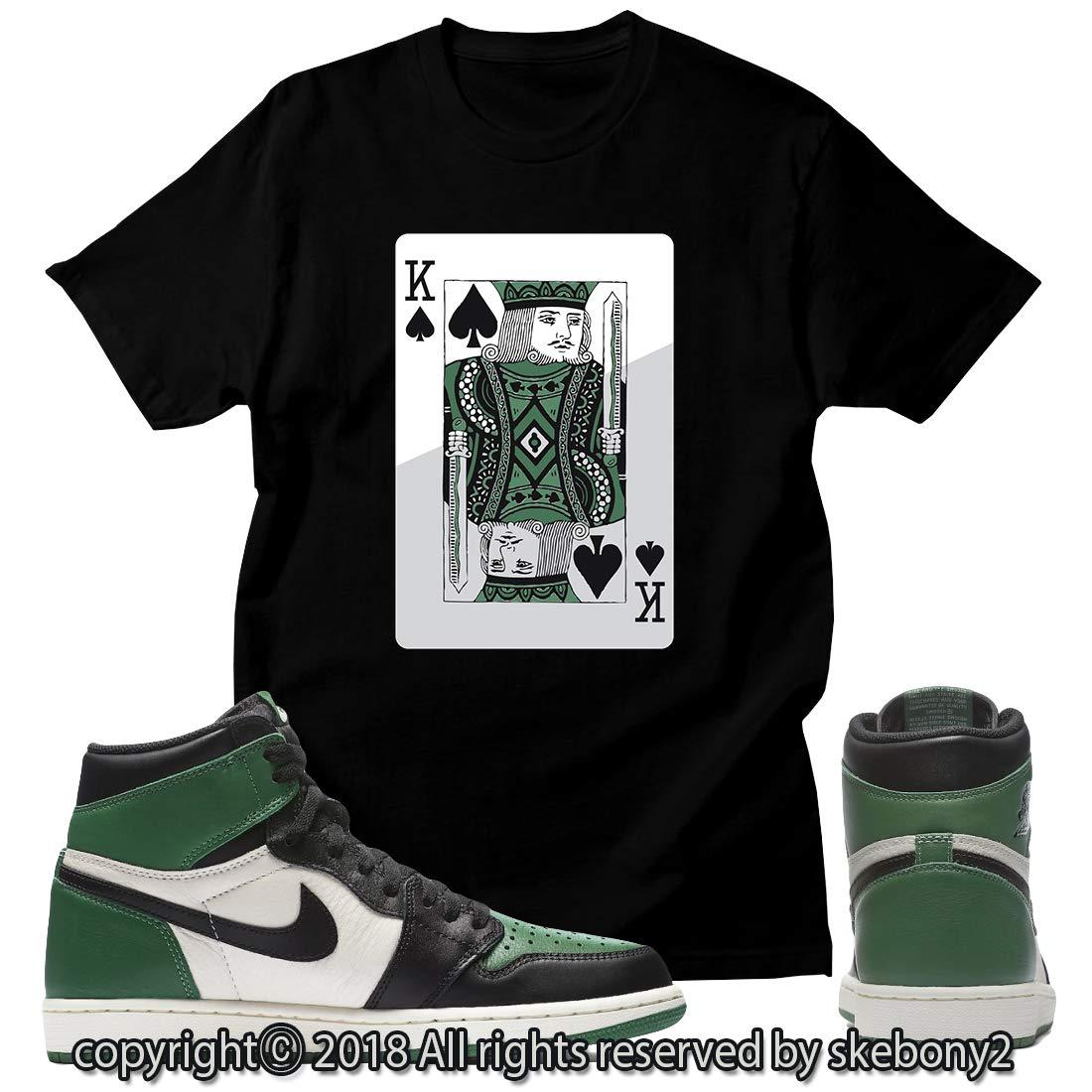 3480e8554281bb Custom T Shirt Matching Style of Air Jordan 1 Retro High Pine Green JD 1-22-17  at Amazon Men s Clothing store