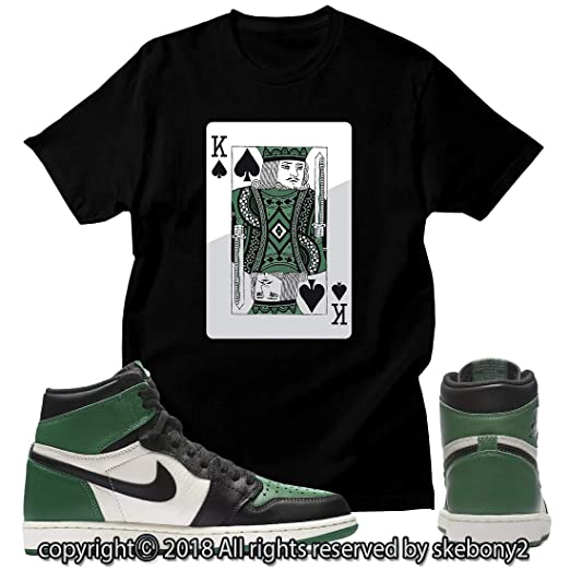 d7566d90d526 Custom T Shirt Matching Style of Air Jordan 1 Retro High Pine Green JD 1-22-17  at Amazon Men s Clothing store