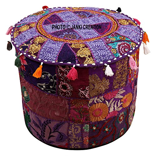 (Indian Round Patchwork Embroidered Ottoman Pouf Bohemian Indian Decorative Patchwork Ottoman Pouf , Handmade Ottomen ,Cotton Chair Cover,Home Living Room Vintage Pouf Size 14 X 22 X 22 Inches Cushion,)