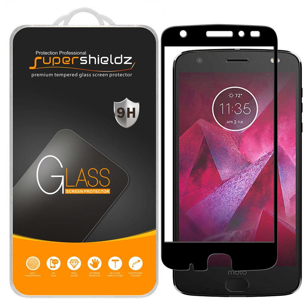 [2-Pack] Supershieldz for Motorola 'Moto Z2 Force' Edition / 'Moto Z Force Edition (2nd Gen)' Tempered Glass Screen Protector, [Full Coverage] [Bubble Free] Lifetime Replacement Warranty (Black)