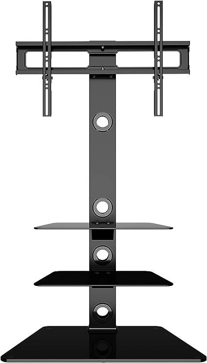 Staffa Porta Tv Plasma.Bontec Supporto Tv Da Pavimento Per Schermo 30 65 Pollici Lcd Led Plasma Staffa Girevole Porta Tv Con 3 Ripiani In Vetro Temperato Max Vesa 600x400mm Amazon It Elettronica