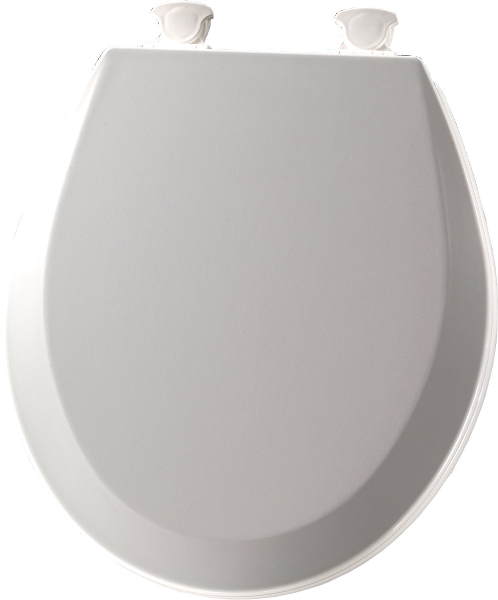 Bemis 500EC Round Closed-Front Toilet Seat and Lid with Easy-Clean & Change Tec, Ice Grey