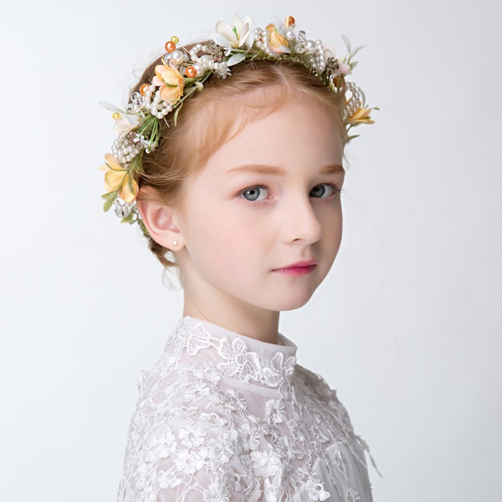 Wreath Flower, Girl Hair Ornaments Headband Accessories Child Princess Headdress (Color : Yellow) by Wreath