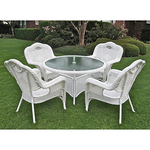 (International Caravan 3193-AB-IC Furniture Riviera 5-Piece Outdoor Dining Group)