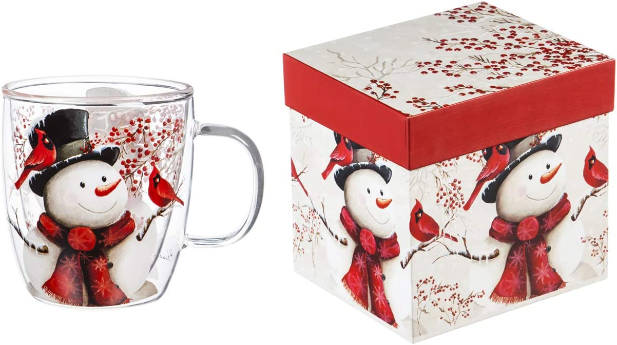 Cypress Home Beautiful Snowman and Cardinal Double Wall Glass Café Cup with Matching Box - 5 x 4 x 5 Inches Indoor/Outdoor home goods For Kitchens, Parties and Homes