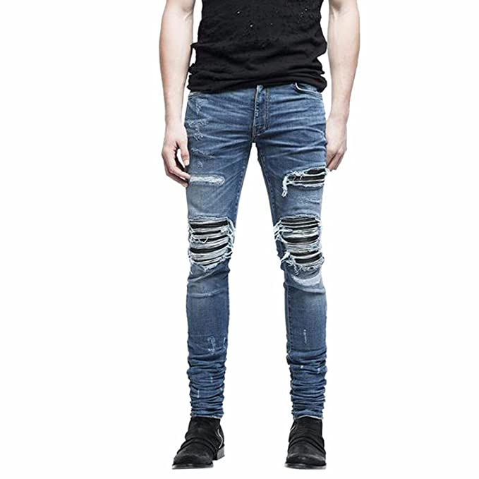 Pantalones de hombre Moda Elástico Ripeado Vaqueros ajustados Biker Jeans Destruido grabado Ajustado Pantalones de mezclilla