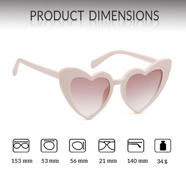 b5ba05671389 Amazon.com  GIFIORE Clout Goggle Heart Sunglasses Vintage Cat Eye Mod Style  Retro Kurt Cobain Glasses  Clothing