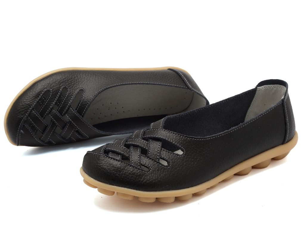KEESKY Womens Ladies Leather Casual Cut Out Loafers Flat Slip-on Shoes Black Size 11