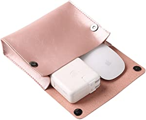 ProElife Premium Electronic Accessory Storage Bag Organizer PU Leather Durable Protective Case Pouch for Charger Adapter, Mouse, Cables, Home, Office, Business, Travel and Cosmetics Kits (Pink Gold)