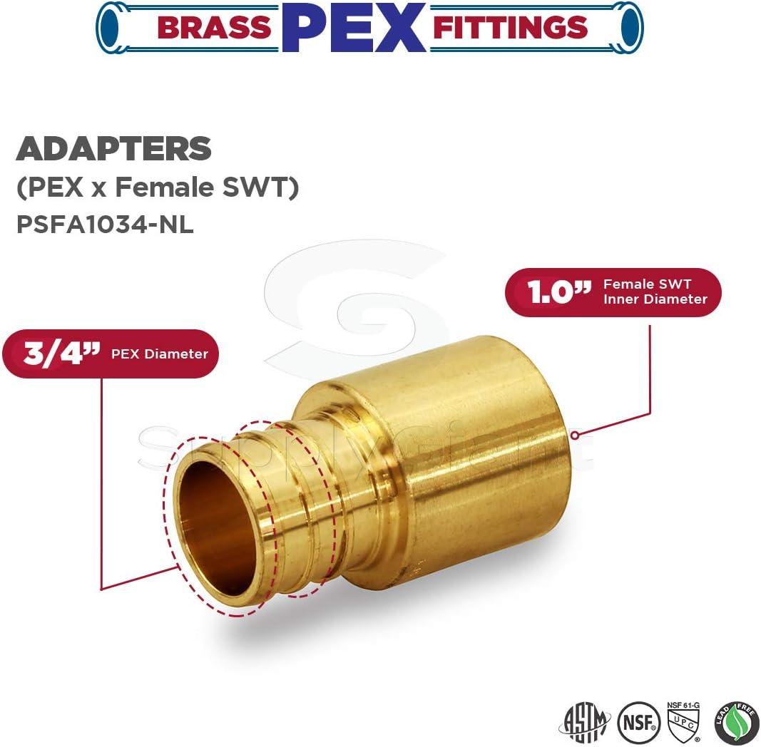 Everflow PSFA1234-NL 1//2 Inch x 3//4 Inch Lead Free Adapter Pex X Female Sweat