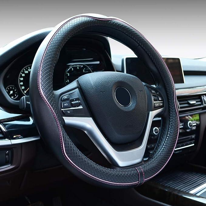 Flkayjm Universal Auto Lenkradhüllen Lenkrad Abdeckung Heavy Duty Lenkradbezug Aus Microfiber Leder 38cm Anti Rutsch Lenkradabdeckung Lenkradschoner Schwarz Pink Auto