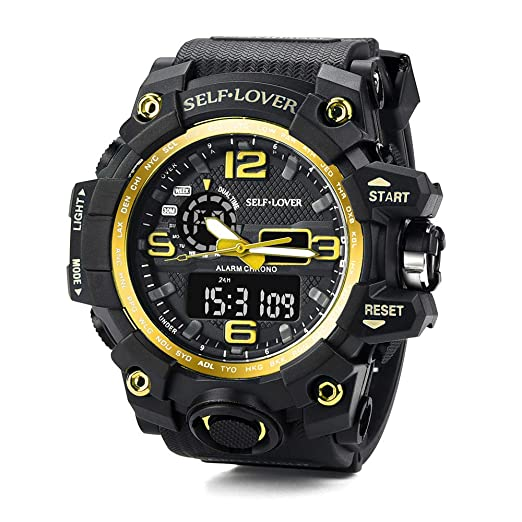 Anolog-Digital Watches for Men DYTA LED Sport Wrist Watches 5ATM Water Resistant Outdoor Watch