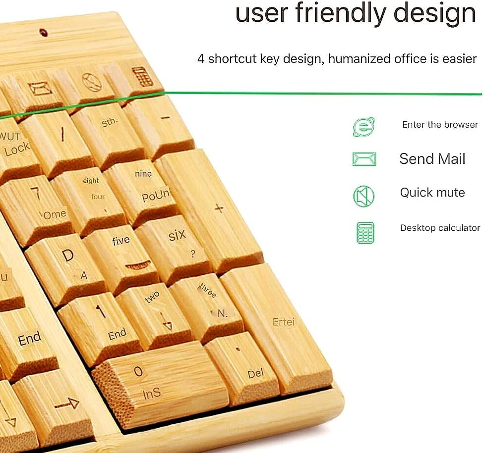 NCBH Wooden Keyboard /& Mouse Combo Bluetooth Wireless Environmentally Friendly 109 Key Exquisite Bamboo Products Keypad for Home /& Office Use