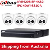Dahua 8CH 6MP PoE Home Security Camera System, 6MP Outdoor PoE IP Cameras with Build in MIC, 4K 8-Channel NVR(NVR4208-8P-4KS2+IPC-HDW4631C-A 2.8MM(4PCS))