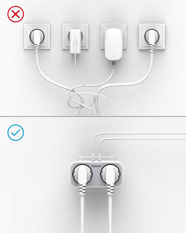 2.4A 2 Steckdosen TESSAN USB Steckdose 4000W Doppelstecker mit Intelligent USB Stecker kompatibel f/ür iPhone Smartphone Laptop 4-in-1 Steckdosenadapter mit USB Ladeger/ät mit 2 USB Anschluss
