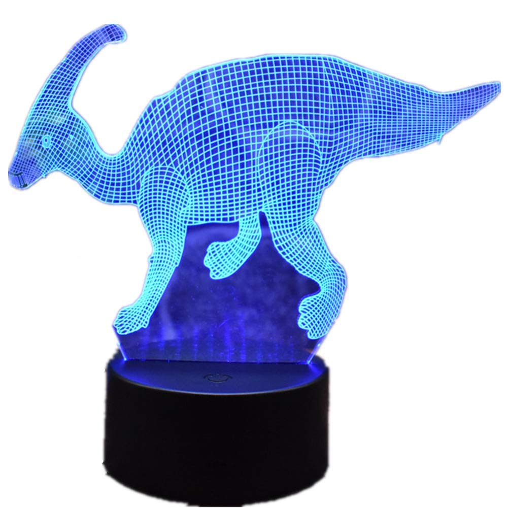 Novelty Lamp, Creative Night Light 3D LED Home Office Decoration Dinosaur Bedside Lamp Touch Remote Control 16 Color Acrylic USB/Battery Table Lamp Toys Gift Ambient Light