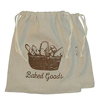 Reutilizable lino Natural bolsas de pan. 3 unidades. 13 x 15 ...