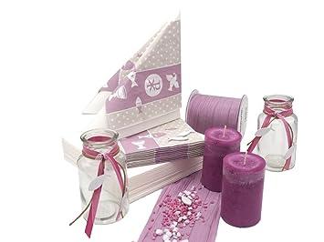 20 Servietten Symbole Mauve Rosa Tischdeko Kommunion Konfirmation