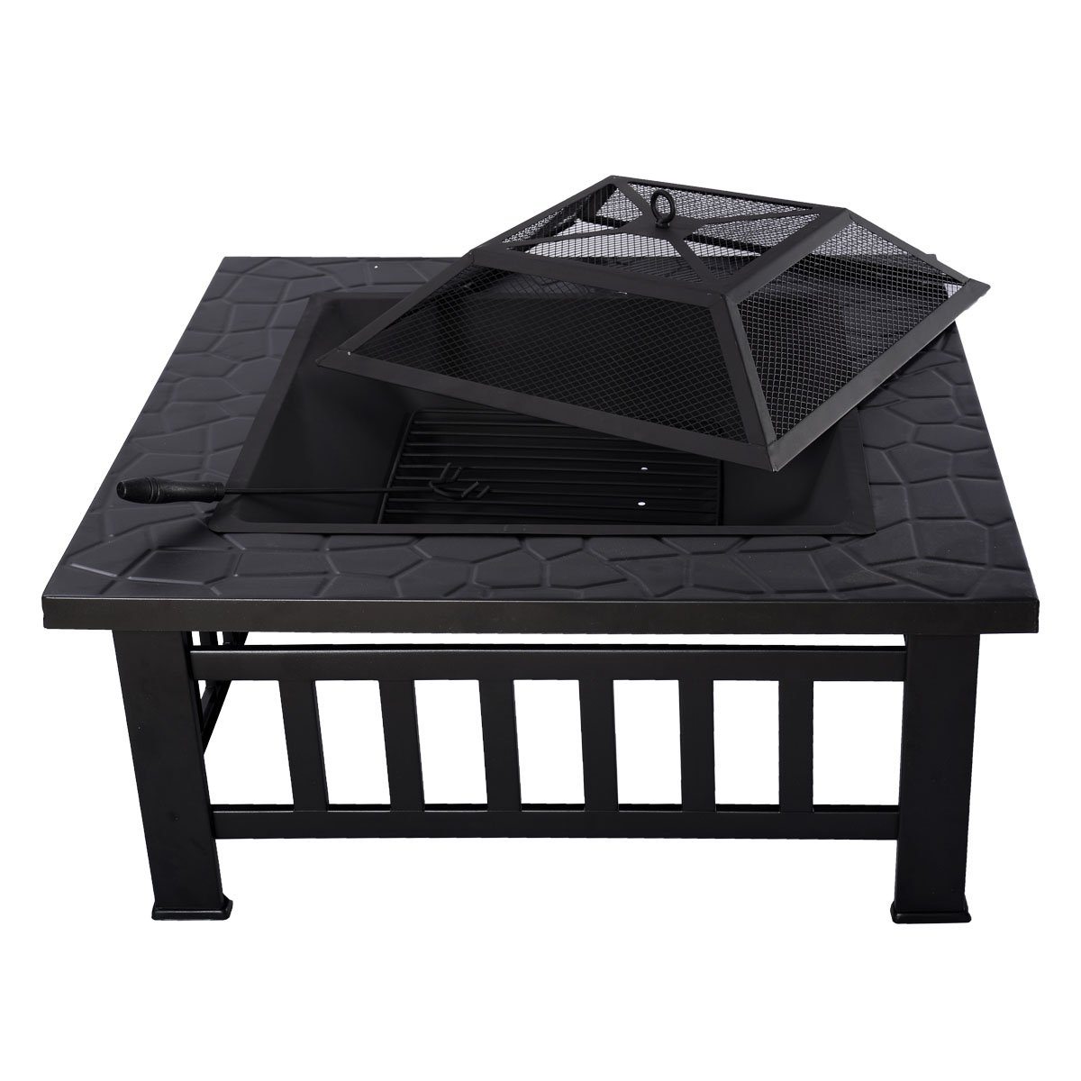 "Giantex Outdoor 32"" Metal Fire pit Square Stove Fire Pit Brazier"