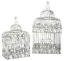 Deco 79 82676 2-Piece Metal Square Bird Cage Set