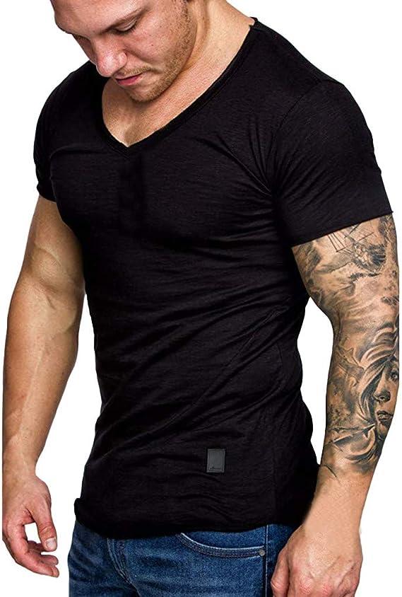 Men Deep V Neck Summer Short Sleeve T-shirt Basic Tee Shirt Casual Slim Fit Top