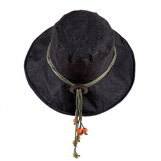 iShine Womens Sun Hat Black Folding Floppy Derby Hat Wide Large Brim Travel  Beach Cap Black 99eb171eab9