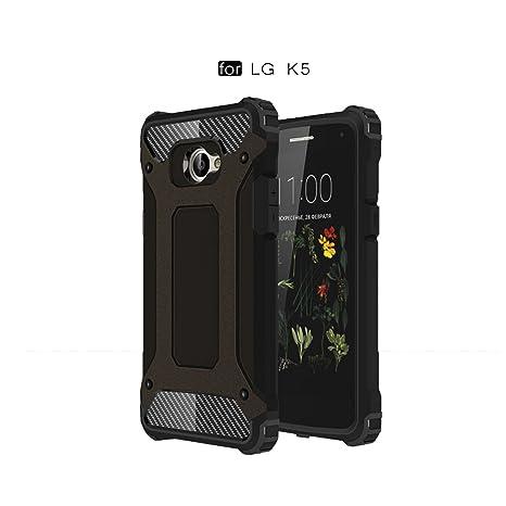 Ycloud Funda para LG K5 Doble Capa Híbrida Armor Silicona TPU + Duradero PC Case Shock-Absorción Armadura Negro Carcasa para LG K5