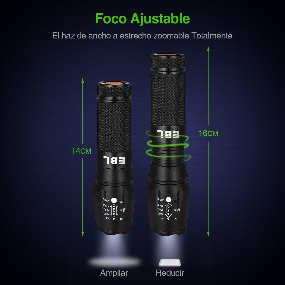 EBL 008 Linterna de LED Portátil Resistente al Agua, 1200 Lumen, con Foco Ajustable y 5 Modos de luz, Perfecta para Ciclismo,Camping, Montañismo-Negra