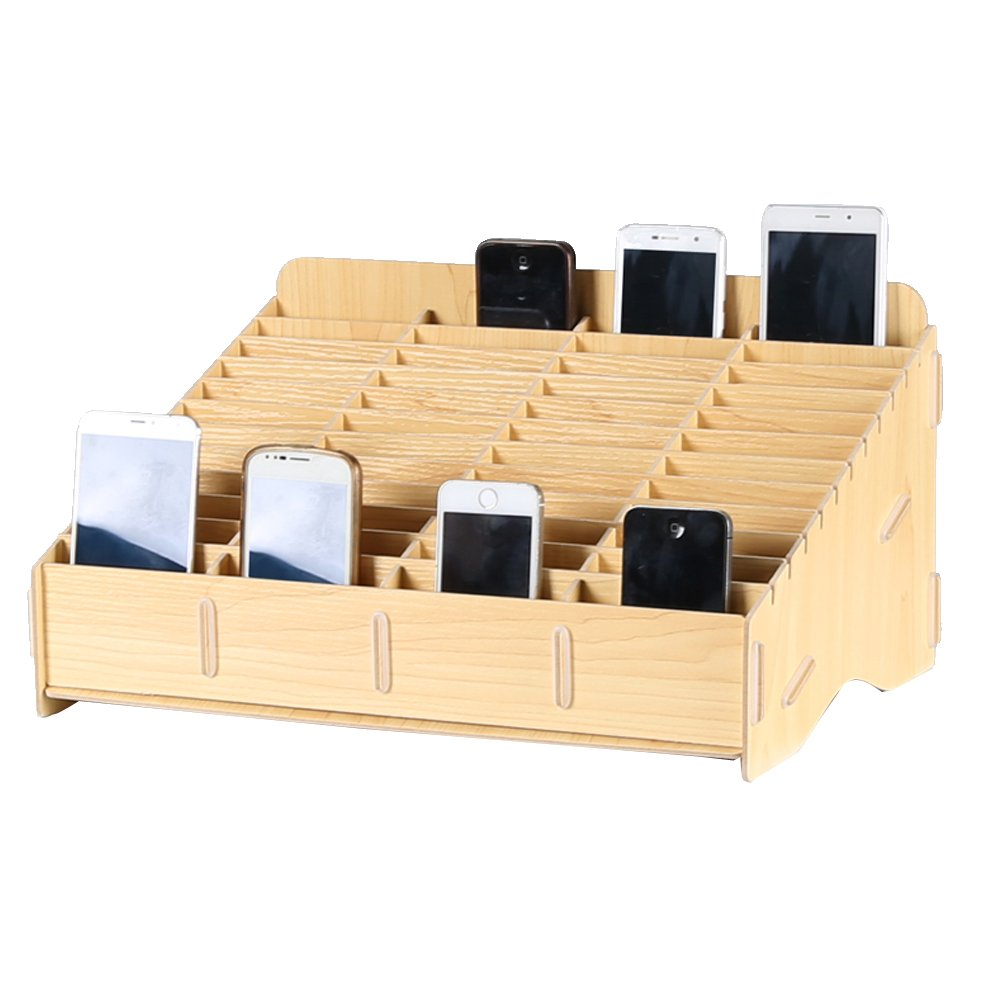 Loghot Wooden 48 Storage Compartments Multifunctional Storage Box for Cell Phones Holder Desk Supplies Organizer (Maple)