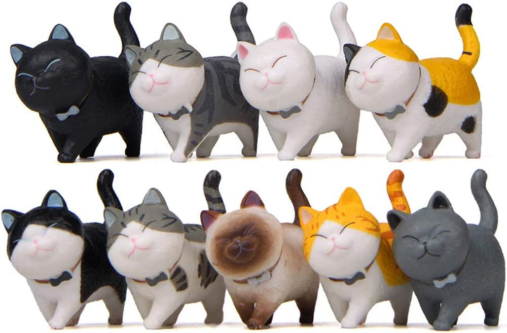 9 Pcs Lovely Cat Toy Figures for Kids, Cake Toppers Cat Figurines Collection Playset Desk Decorations