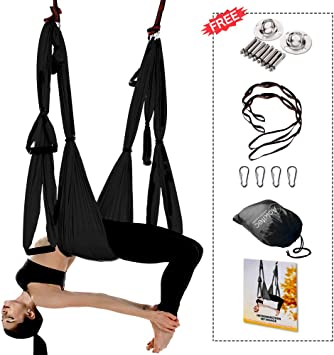 Aokitec Aerial Yoga Swing Set - Flying Yoga Hammock Trapeze Sling Kit Antigravity Ceiling Hanging Inversion Tool, Ceiling Anchors & 2 Extension Straps ...
