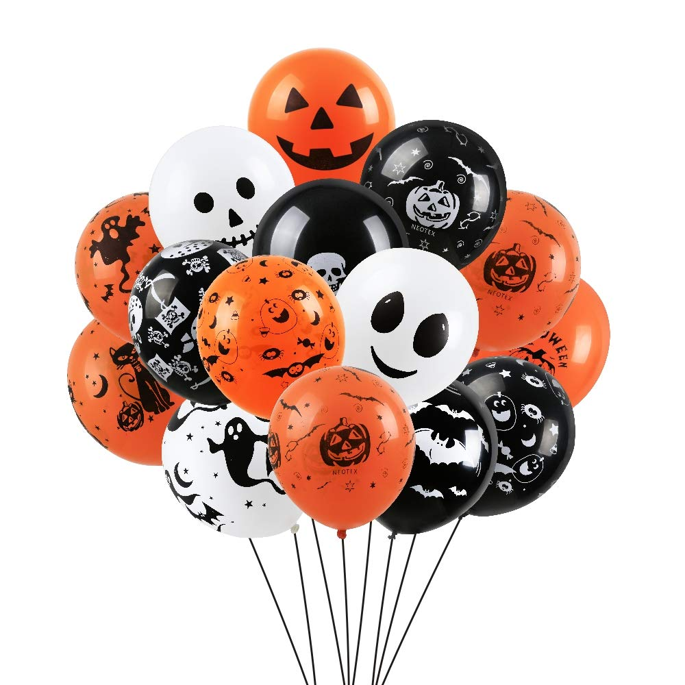 Halloween Balloons Decorations 100 PCS Balloons for Halloween Theme Party Indoor Halloween Decorations Accessory Halloween Party Supplies Set(Orange, Black and White) Haimist