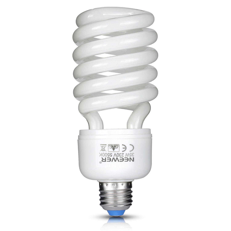 Neewer Ampoule Spirale Fluorescentes Triphosphore - 35 W - 220 V - 5500 K - Lumiè re du jour - Culot E27 - Pour é clairage de Studio Photo et Vidé o
