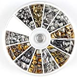 1200 pcs 3D Design Nail Art Gold&Silver Mix Style Metallic Studs Stud Wheel Manicure