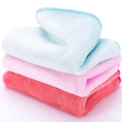 3Pack Makeup Remover Face Cloths, Reusable Facial Cleansing Towel, Chemical Free Gently Wipe Away Cosmetics, Sunscreen, Oil and Dirt Makeup Remover Wash Cloths